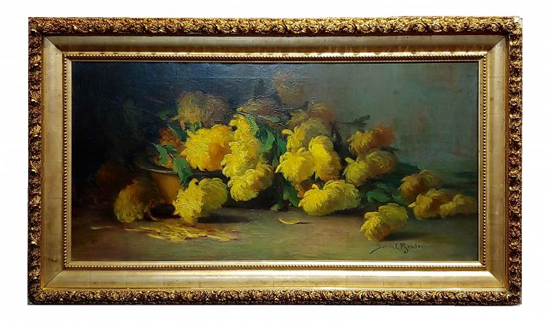 Sarah E Bender De Wolfe -Still Life With Yellow Flowers-19th Century Oil Painting