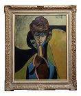 """Philippe Marchand """"Three Faces of Women"""" Cubist Oil Painting -C1960s"""