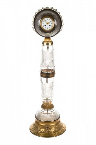 Antique French Gilt Bronze-Mounted Cut Crystal Floor Clock