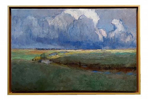 Richard Kaiser-River Running Through a Countryside Landscape-19th Century Oil Painting