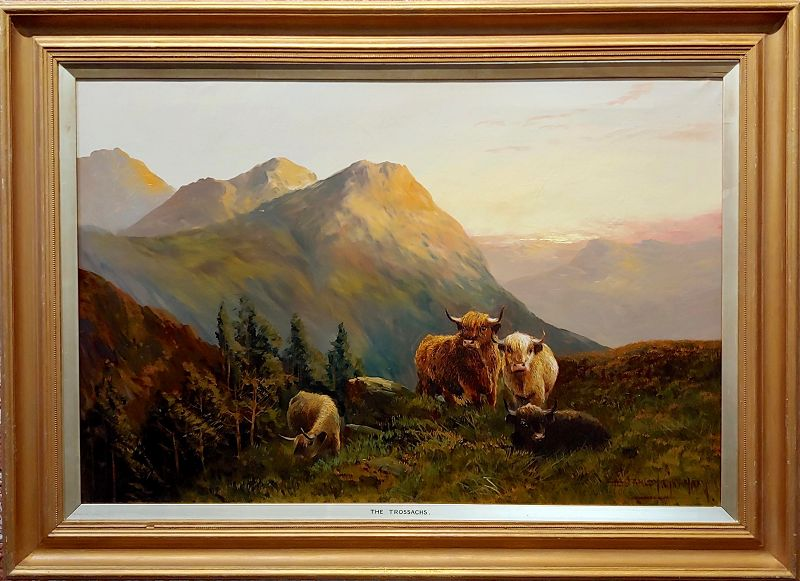 19th Century English Traditional Oil Painting, Cattle in a Scottish Landscape by Stanley Graham