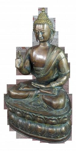 Chinese Antique 19th century large Brass Buddha