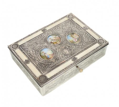 19th Century Silver Repousse Miniature Painting Inset Box