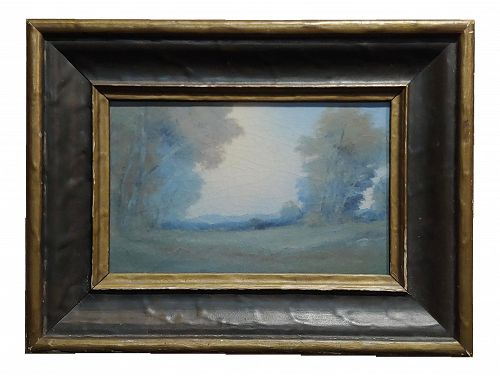 Edward Diers 1921 Rookwood Vellum Plaque Landscape with Original Frame