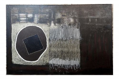 Shade of Grey Abstract - Large Oil Painting on Canvas by Gladys Medina