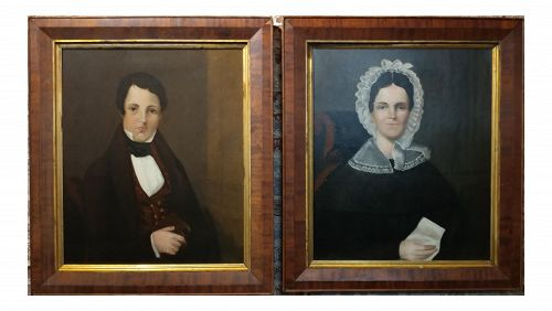 American School -19th Century Portraits of Husband & Wife - a Pair