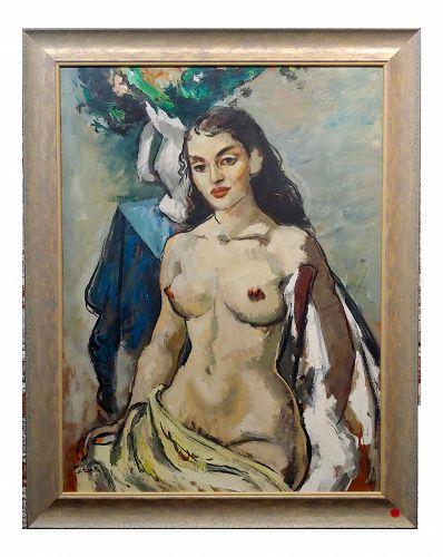 Benjamin Albert Stahl -Portrait of a Nude Woman-Oil Painting