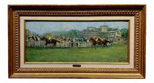 Gabriel Spat 1920s Horse Racing at the Track -Oil Painting