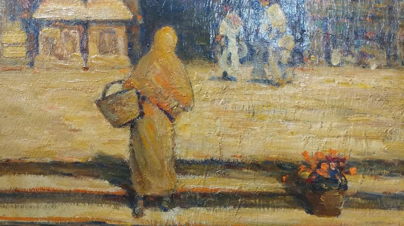 Frank Coburn Spanish Cathedral Steps Oil Painting