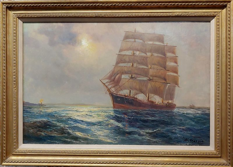 19th Century Oil Painting of Clipper Ship Seascape by Daniel Sherrin the Elder