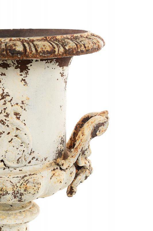 19th Century Antique French Cast Iron Garden Urns - a Pair