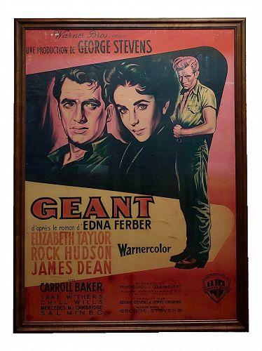 Giant -James Dean, Rock Hudson E. Taylor Original 1956 French Movie Poster