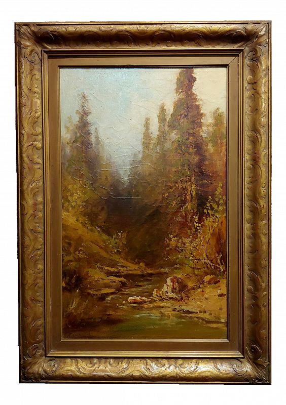 Frederick Ferdinand Schafer- California Wooded River Landscape -19th Century Oil Painting