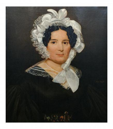 Portrait Lady Wearing Lace Bonnet Oil Painting