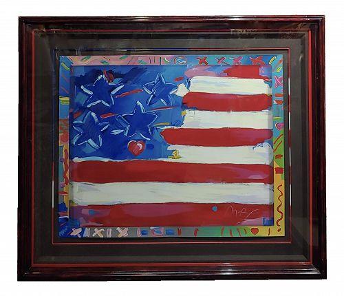 Peter Max - Usa Flag With Harts - Original Serigraph