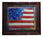 Peter Max - Usa Flag With Harts - Original Serigraph