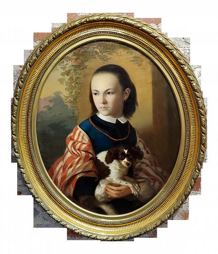 19th Century English School -Girl Holding Her Cute Dog-Oil Painting C1820s