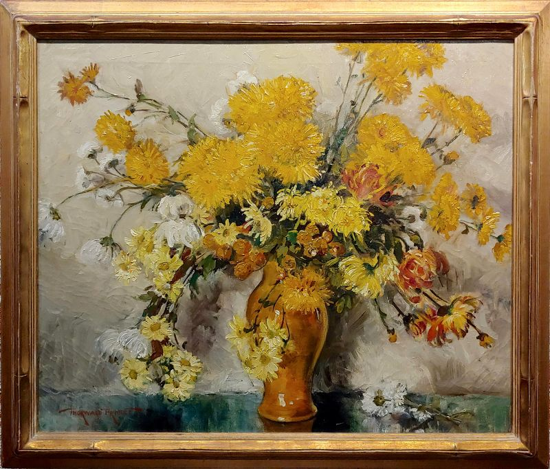 Thorwald Albert Probst -Beautiful Flowers of Fall Still Life-Oil Painting- 1900s