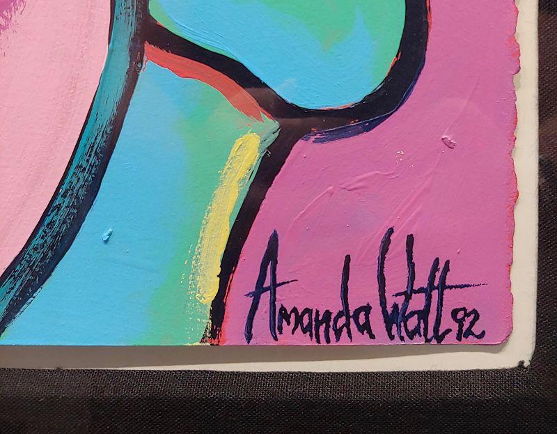 1990s Vintage Cubist Seated Nude Female Oil Painting Amanda Watts