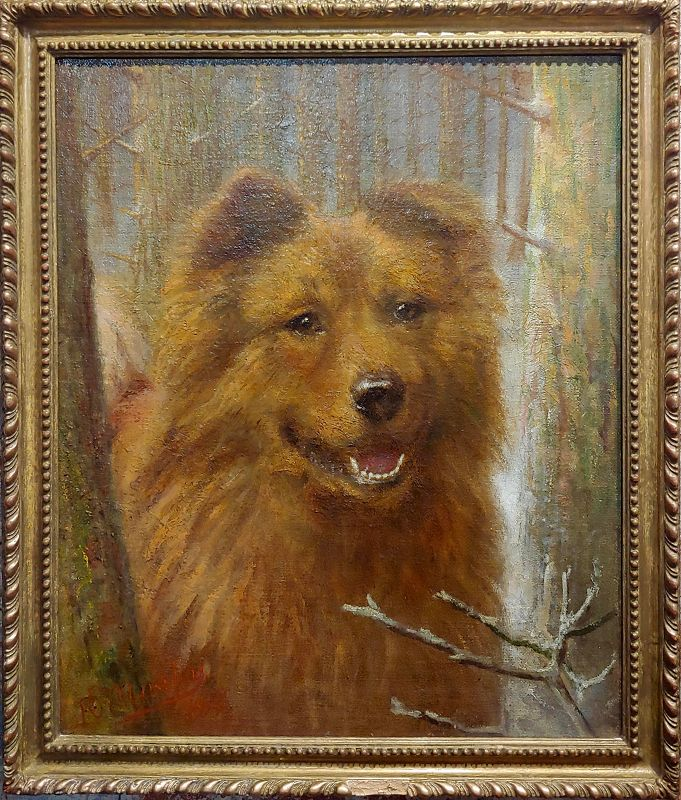 Richard S. Moseley 19th Century Portrait of a Chow Chow Dog - Oil Painting