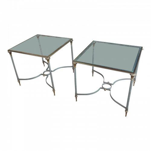 Vintage Brass French Side Tables With Square Glass Top - A Pair