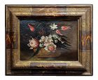 Still Life of Flowers in a Basket -17th Century Italian Oil Painting