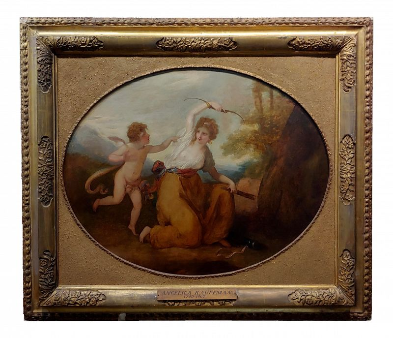 18th Century Neoclassical Oil Painting, Cupid & A Goddess