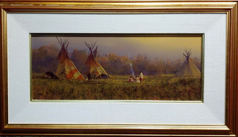 Mark Geller -Panoramic View of Teepees in an Indian Camp -Oil Painting