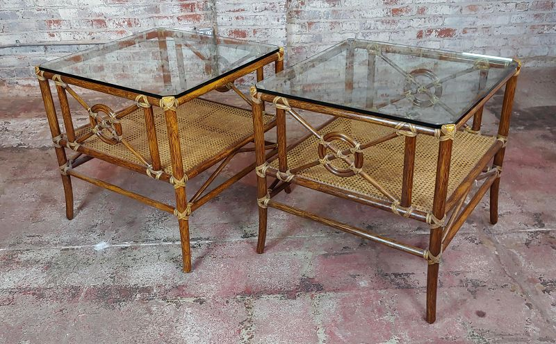 1970s Vintage McGuire Bamboo ,Cane & Glass Top Side Lamp Tables -A Pair