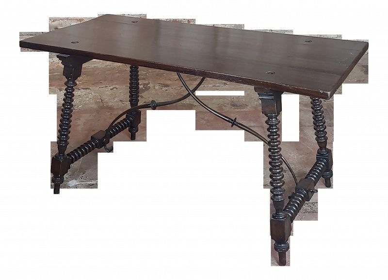 20th Century Spanish Revival Walnut Table With Iron Stretcher Bars