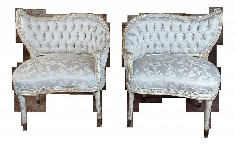 1940s Vintage French Provincial Blue Upholstered Asymmetrical Bergeres Chairs- A Pair