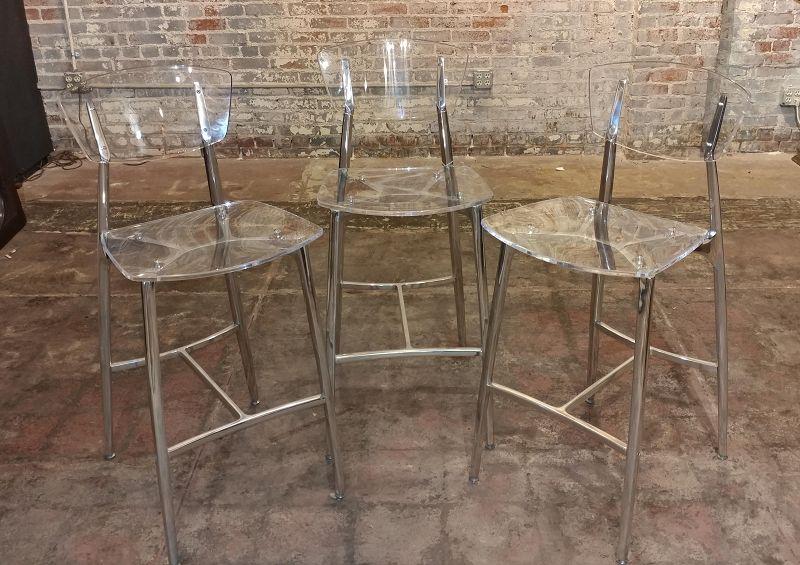Designer Lucite & Polished Steel Bar Stools - Set of 3