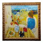 Oil Painting on Canvas, Woman at Table Outdoor by Willering Epko
