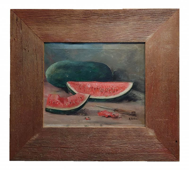 Barber - Still Life With Watermelons -Oil Painting C.1900s