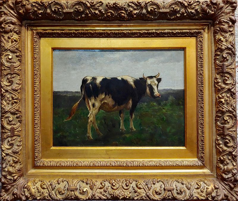 19th Century English School -Portrait of a Black & White Cow -Oil Painting
