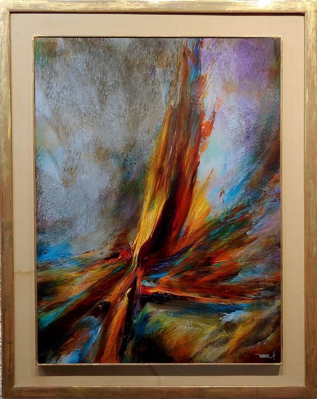 1967 Leonard Nierman Bird of Fire in the Wind Abstract Oil Painting