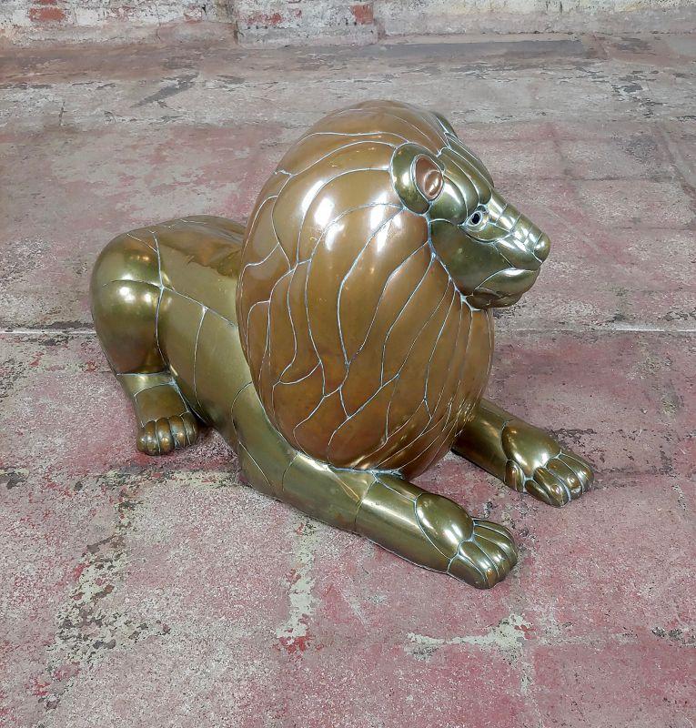 Sergio Bustamante - Resting Lion Brass & Copper Sculpture