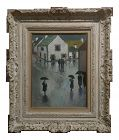 Stephen Goosson -Villagers Dealing W/The Rain-Post Impressionist Oil Painting