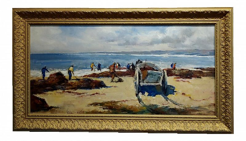Cesar Vilol -Workers Cleaning a Beautiful Beach-Oil Painting C1930s