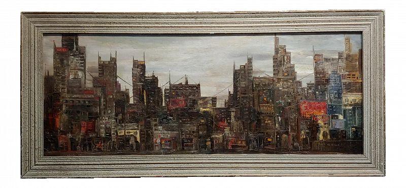 Corrigan - 1964 Downtown Manhattan Skyline - Mid Century Oil Painting