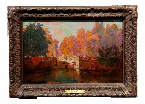 19th Century Autumn in Venice - French Impressionist Oil Painting