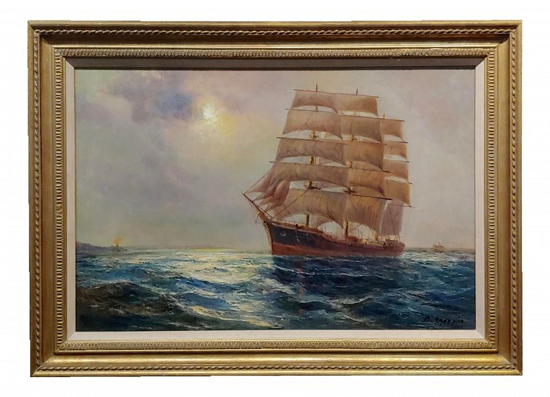 Daniel Sherrin - Clipper Sail Ship in a Seascape-Oil Painting -C1900s