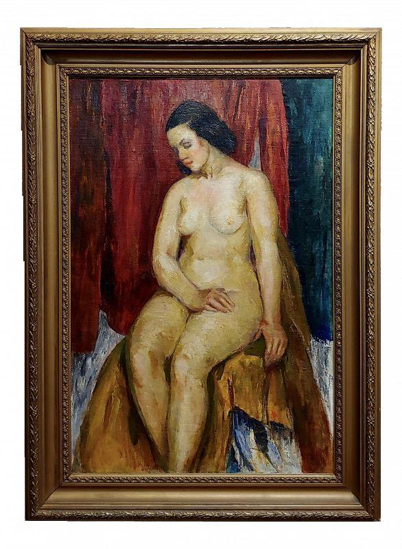 1935 Figurative Bernard Glasgow Oil Painting - Seated Nude Woman
