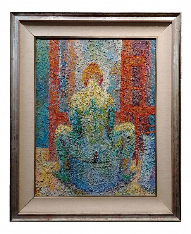 Manuel De Arce 1970s Pointillism Oil Painting, Nude Female in Lavatory