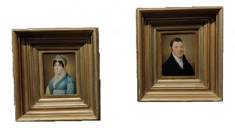 18th Century English School Oil Paintings of Portraits of Husband & Wife - a Pair