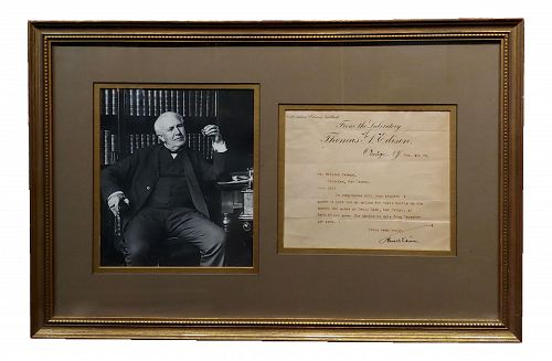 Vintage Thomas Edison Original Hand Signed Document Letter