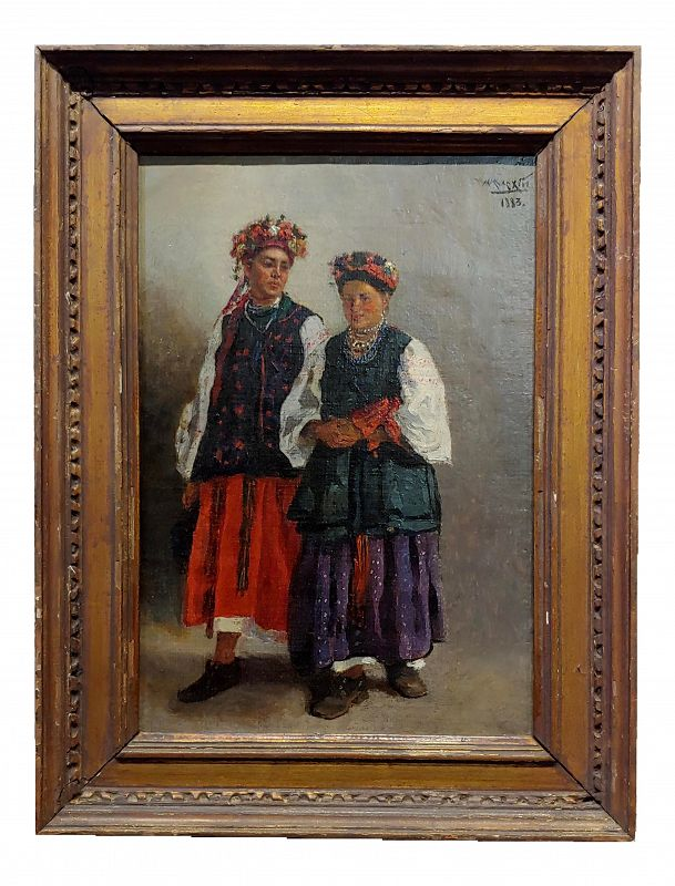 Russian Wedding - Original 19th Century Oil Painting
