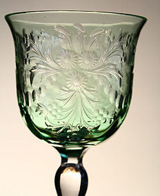 Green Cut-to-Clear Wine Glass