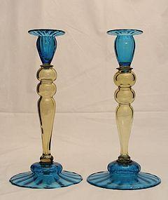 Topaz & Celeste Blue Steuben Candlesticks