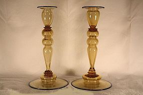 Steuben Amber and Blue Candlesticks